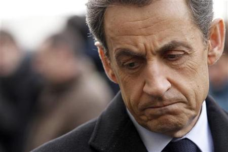 France's President and candidate for the 2012 French presidential elections Nicolas Sarkozy arrives for a visit at Alstom plant in Aytre